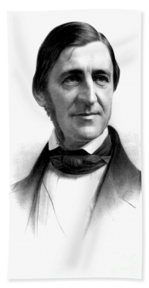 History Beach Towel featuring the photograph Ralph Waldo Emerson, American Author by Photo Researchers