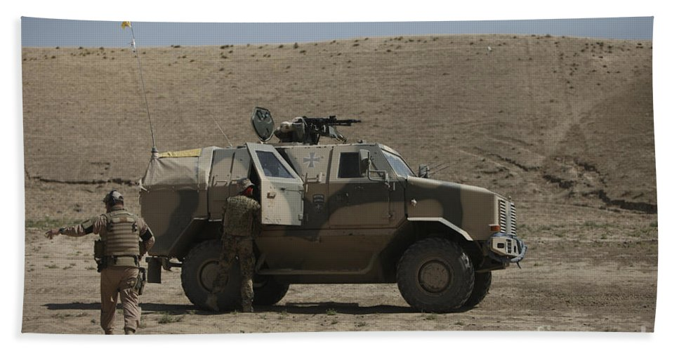 Operation Enduring Freedom Beach Towel featuring the photograph The German Army Atf Dingo Armored by Terry Moore