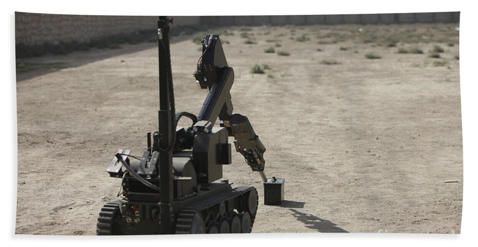 Robot Beach Towel featuring the photograph The Teodor Heavy-duty Bomb Disposal by Terry Moore