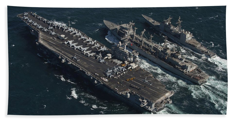 Horizontal Beach Towel featuring the photograph Underway Replenishment At Sea With U.s by Stocktrek Images