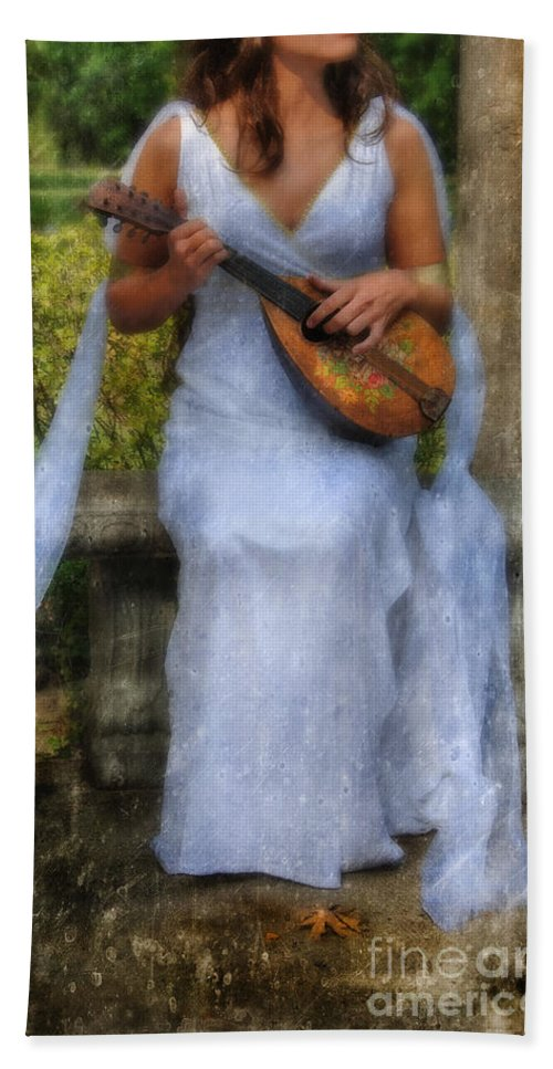 Woman Beach Towel featuring the photograph Young Woman As A Classical Woman Of Ancient Egypt Rome Or Greece by Jill Battaglia