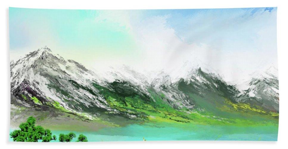 Landscape Beach Towel featuring the digital art 30 Minute Landscape by David Lane