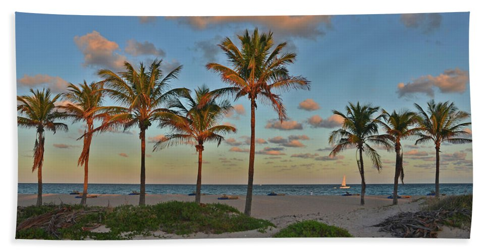Palm Trees Beach Towel featuring the photograph 39- Evening In Paradise by Joseph Keane