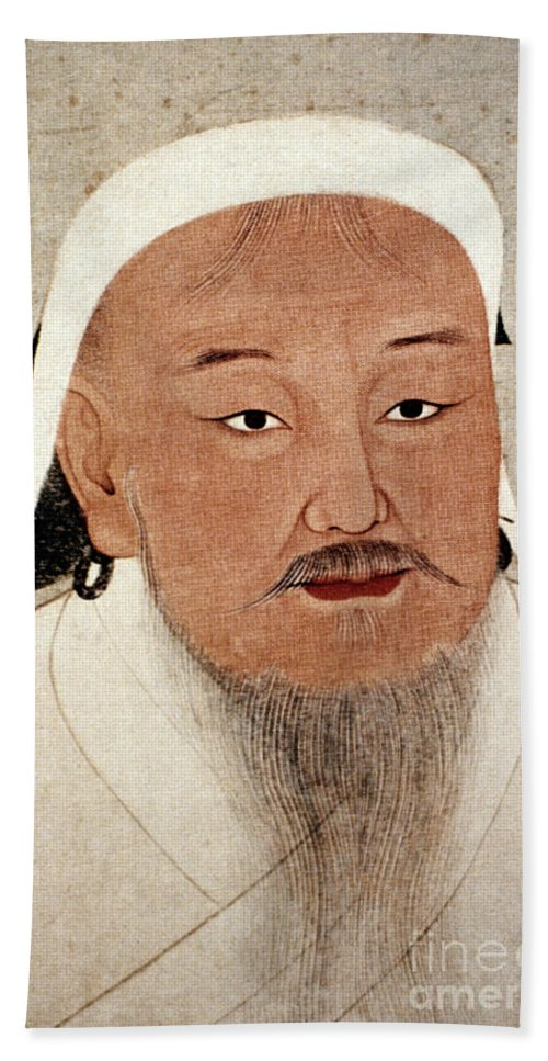 12th Century Beach Towel featuring the photograph Genghis Khan (1162-1227) by Granger