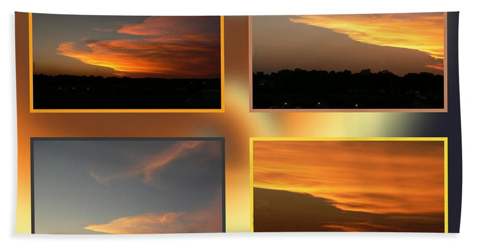 Ericamaxine Beach Towel featuring the photograph 4 In 1 Sunsets by Ericamaxine Price