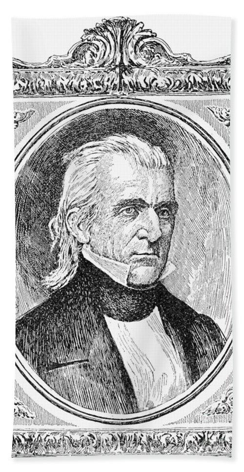 19th Century Beach Towel featuring the photograph James K. Polk (1795-1849) by Granger