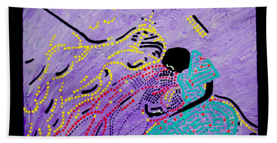 Jesus Beach Towel featuring the painting Jesus And Mary by Gloria Ssali