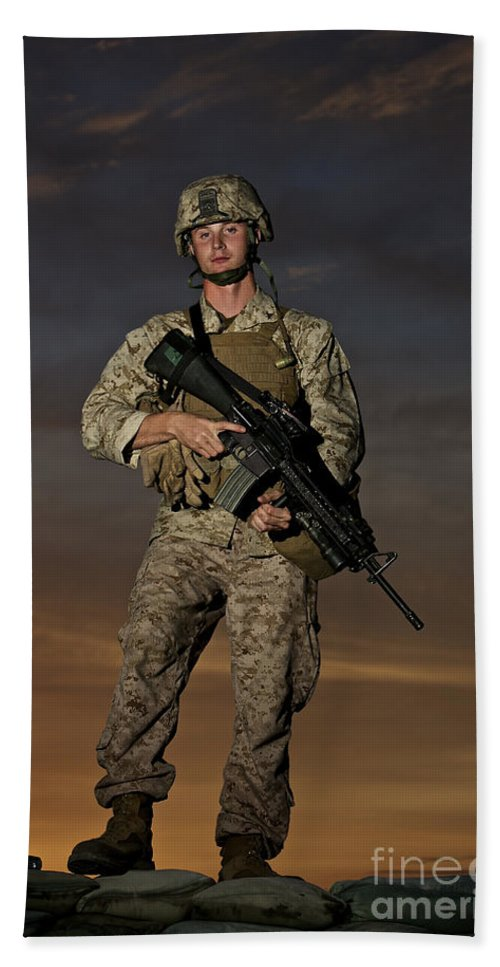 Helmet Beach Towel featuring the photograph Portrait Of A U.s. Marine In Uniform by Terry Moore