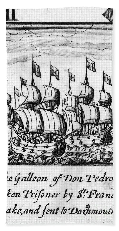 1588 Beach Towel featuring the photograph Spanish Armada, 1588 by Granger