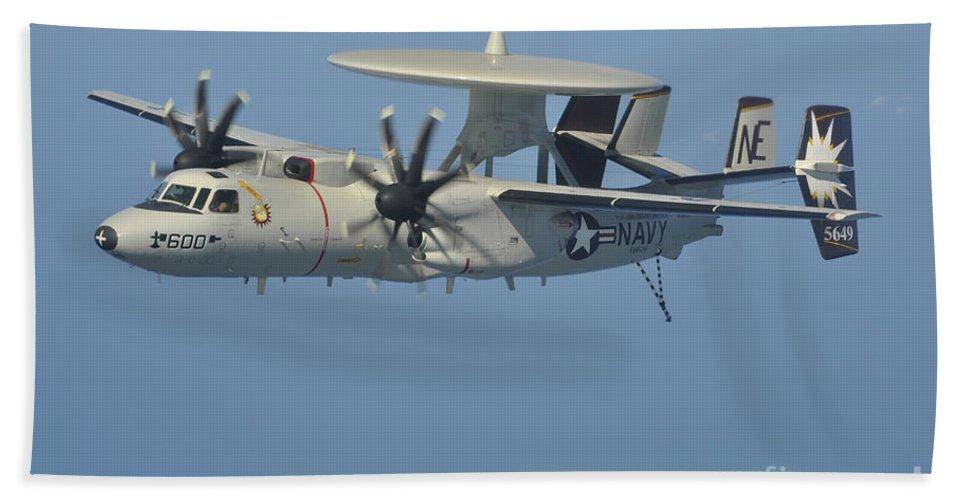 Arabian Sea Beach Towel featuring the photograph An E-2c Hawkeye In Flight by Stocktrek Images