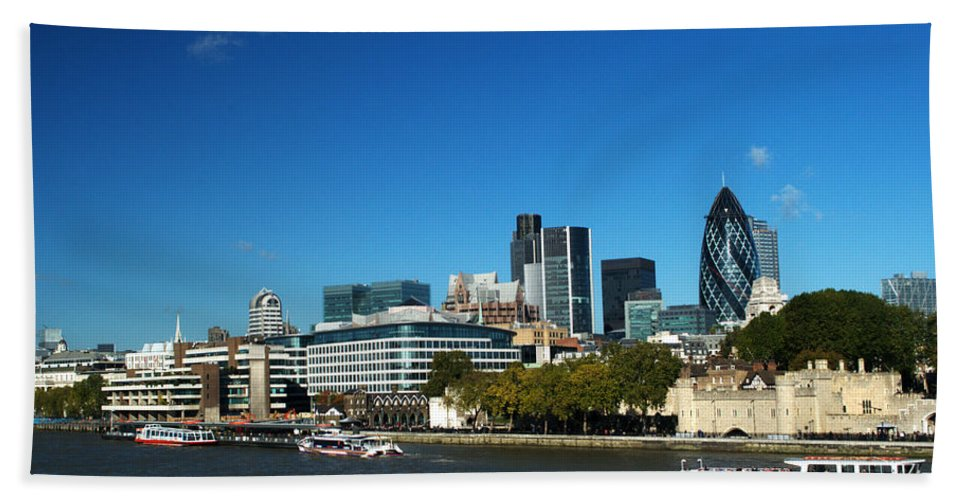 City Of London Beach Towel featuring the photograph City Of London Skyline by Chris Day