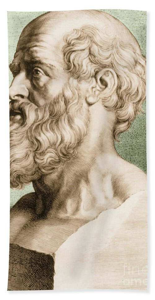 Hippocrates Beach Towel featuring the photograph Hippocrates, Greek Physician by Science Source