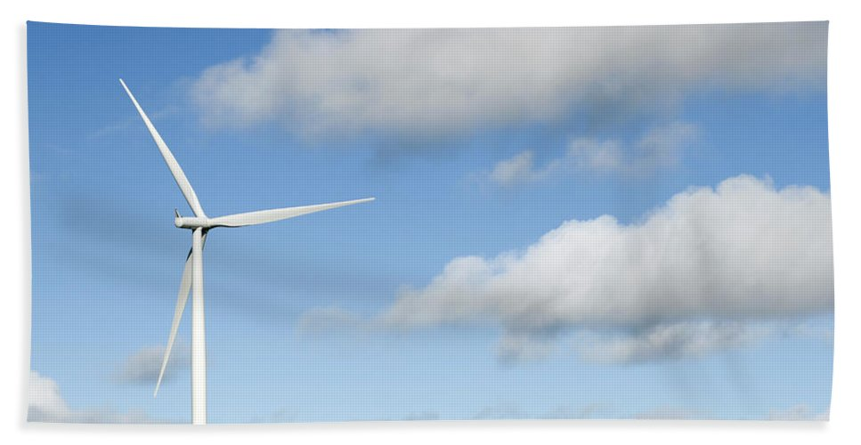Clouds Beach Towel featuring the photograph Wind Turbine by Les Cunliffe