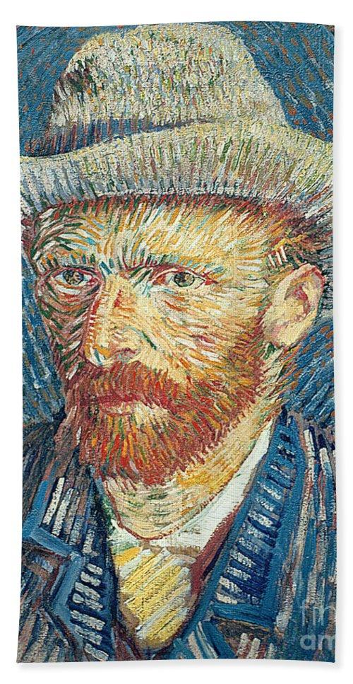 Vincent Van Gogh Beach Towel featuring the painting Self Portrait by Vincent Van Gogh