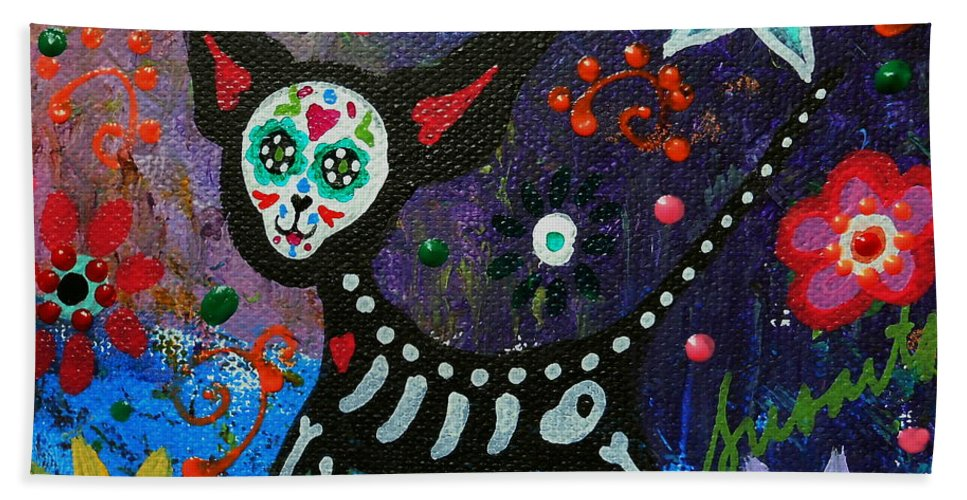 Chihuahua Beach Towel featuring the painting Chihuahua Day Of The Dead by Pristine Cartera Turkus