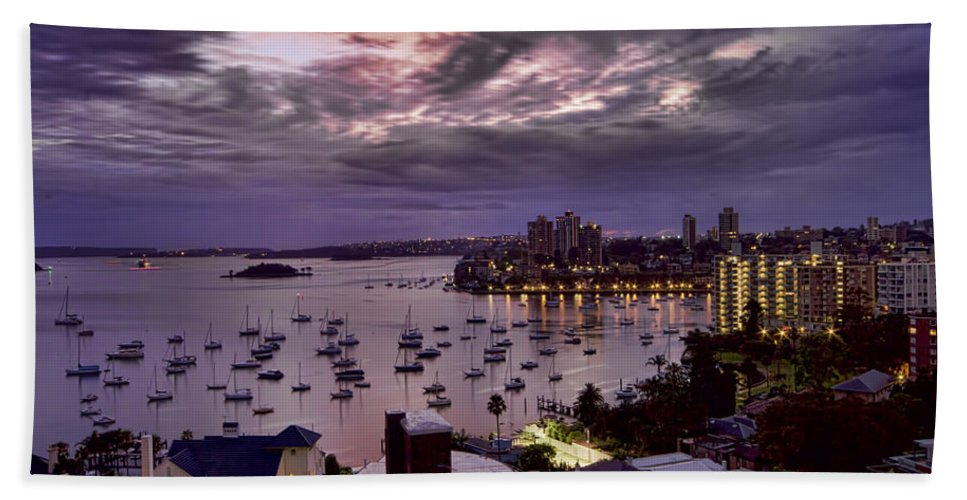 Macleay Street Beach Towel featuring the photograph 7th Floor View Macleay Street Potts Point Sydney Early Morning by Douglas Barnard