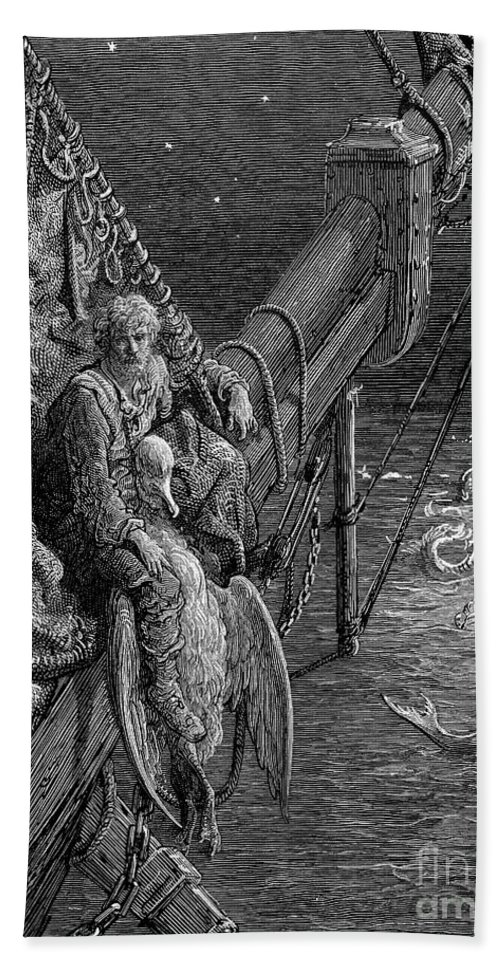 19th Century Beach Towel featuring the drawing Ancient Mariner by Gustave Dore