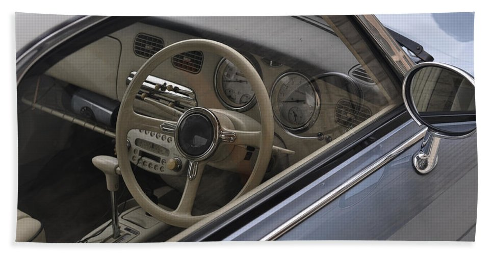 Nissan Beach Towel featuring the photograph 91 Nissan Figaro Interior by Tim Nyberg