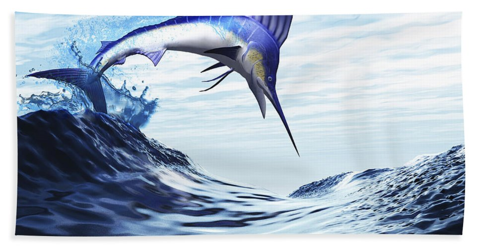 Underwater Beach Towel featuring the digital art A Beautiful Blue Marlin Bursts by Corey Ford