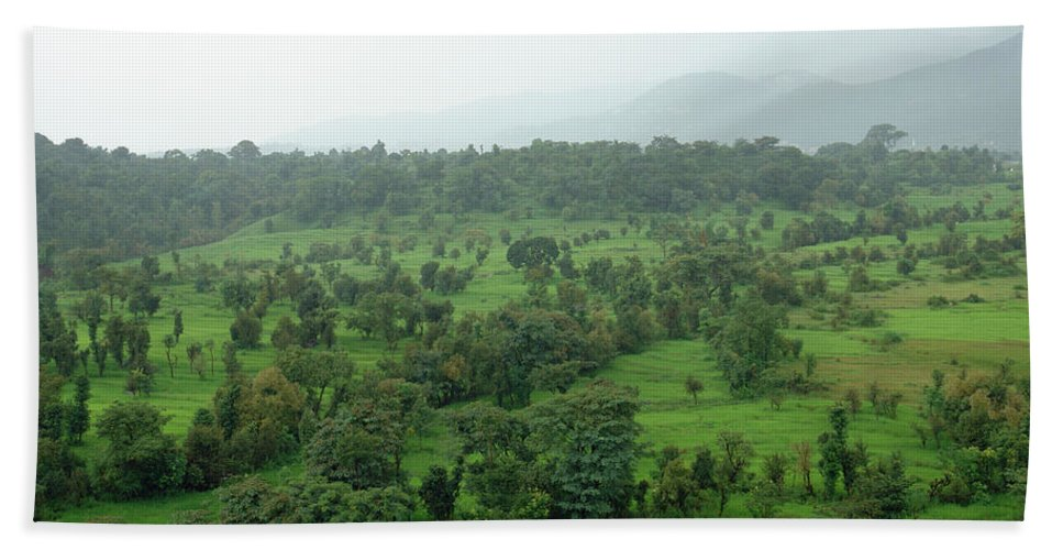 Kangra Beach Towel featuring the photograph A Beautiful Green Countryside by Ashish Agarwal