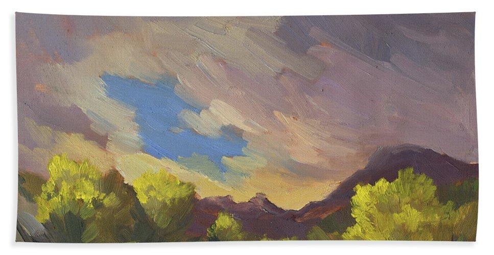 Break In The Clouds Beach Towel featuring the painting A Break In The Clouds by Diane McClary