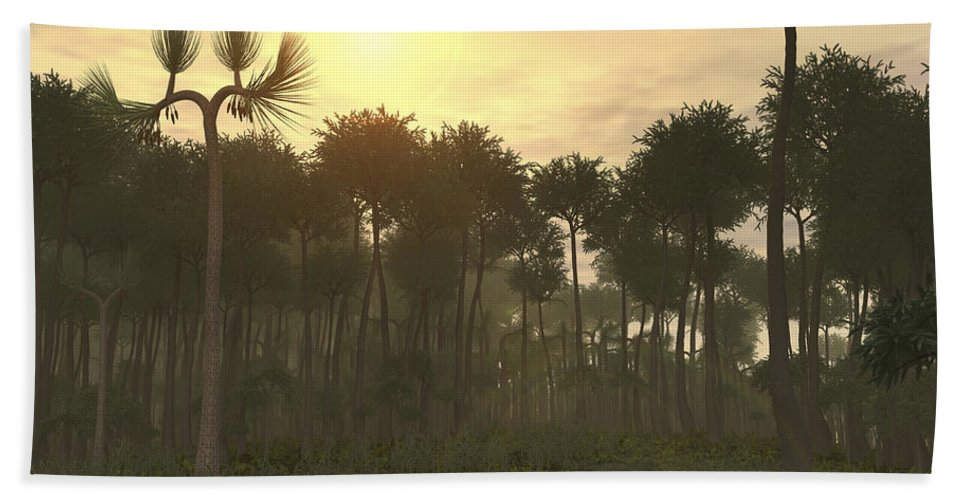 Coal Beach Towel featuring the digital art A Carboniferous Forest Of Midwestern by Walter Myers