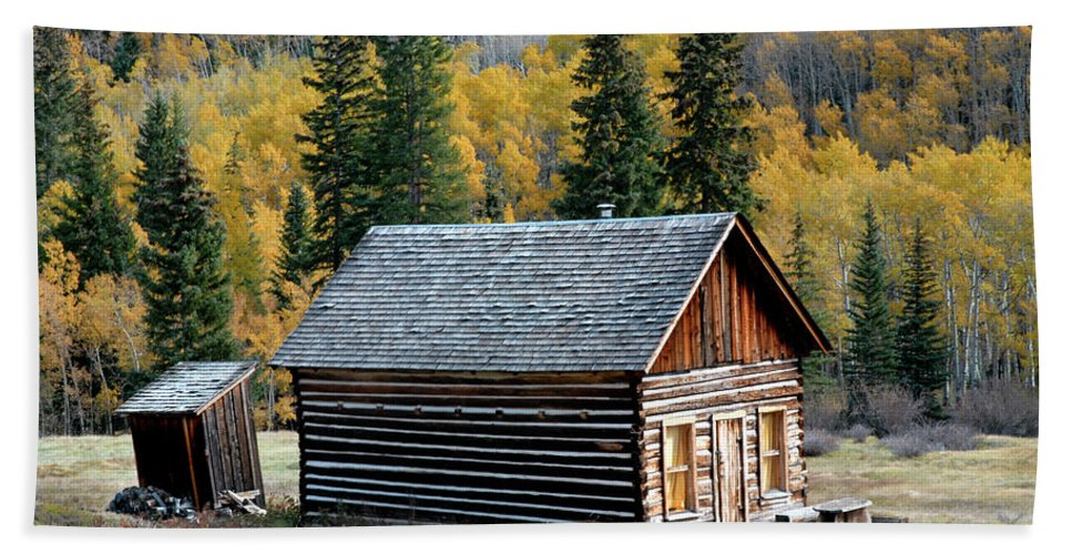 Cabin Beach Towel featuring the photograph A Colorado Cabin by Dave Mills