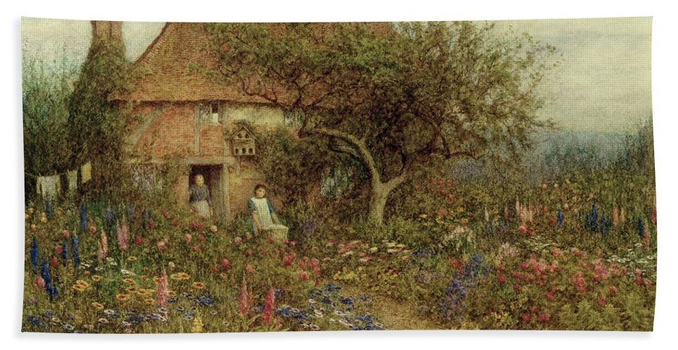 A Cottage Near Brook Beach Towel featuring the painting A Cottage Near Brook Witley Surrey by Helen Allingham