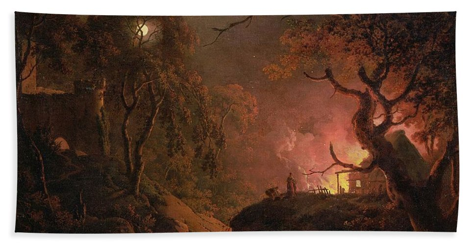 Xyc111914 Beach Towel featuring the photograph A Cottage On Fire At Night by Joseph Wright of Derby