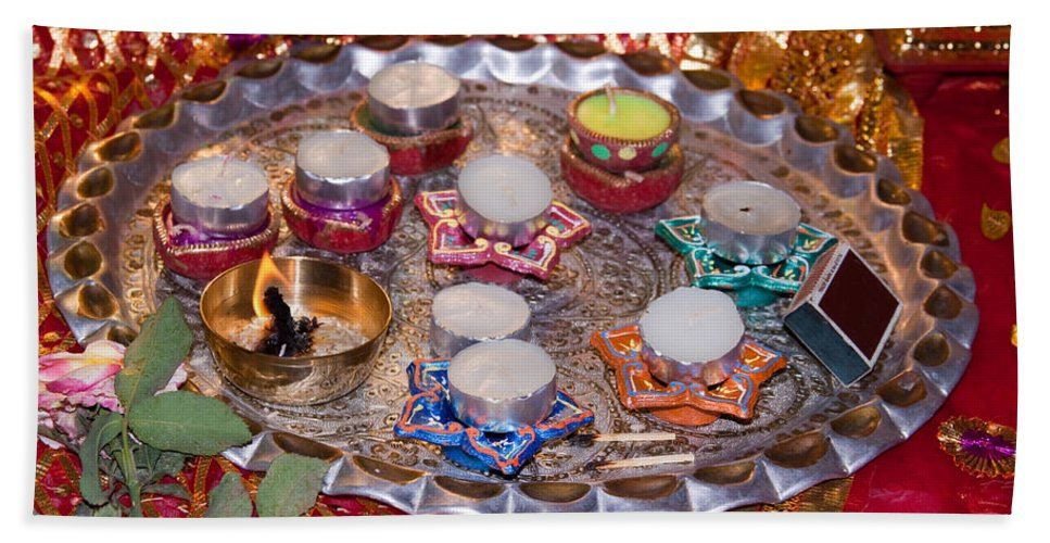 Hindu Beach Towel featuring the photograph A Decorated Hindu Prayer Thaali With Wax Candles Oil Lamps by Ashish Agarwal