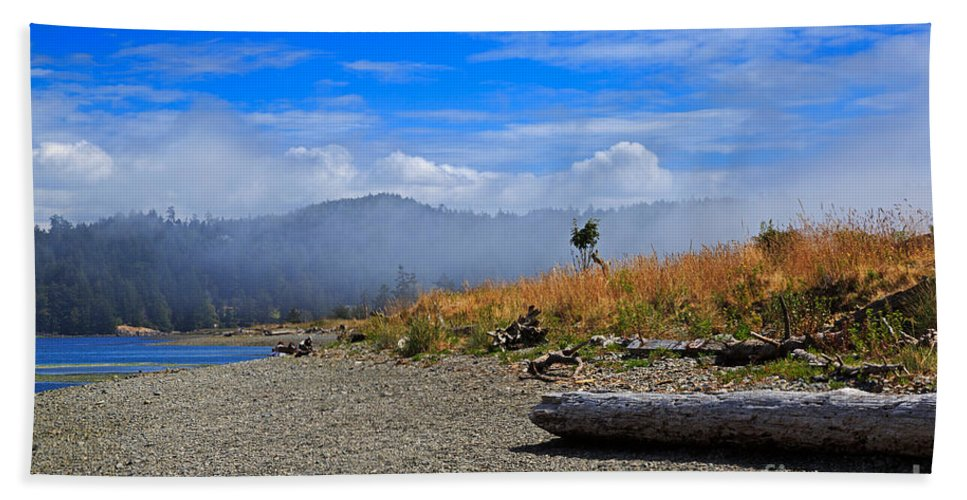 Fog Beach Towel featuring the photograph A Foggy Morning At Whiffin Spit by Louise Heusinkveld