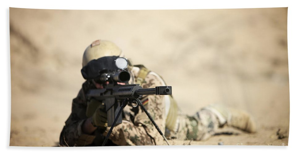 Army Beach Towel featuring the photograph A German Soldier Sights In A Barrett by Terry Moore