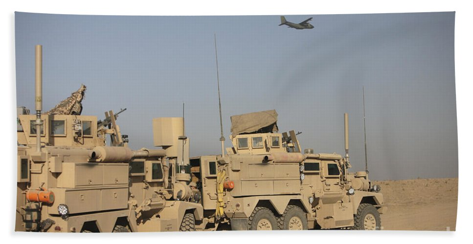 Kunduz Beach Towel featuring the photograph A German Transall C-160 Flies Over Two by Terry Moore