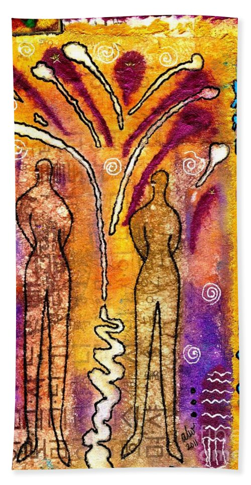Bonding Beach Towel featuring the mixed media A Glorious Bond by Angela L Walker