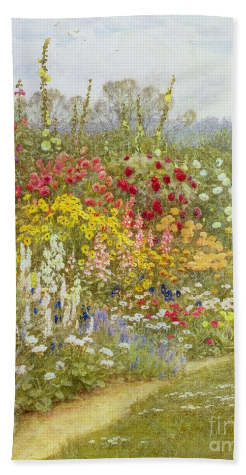 A Herbaceous Border Beach Towel featuring the painting A Herbaceous Border by Helen Allingham