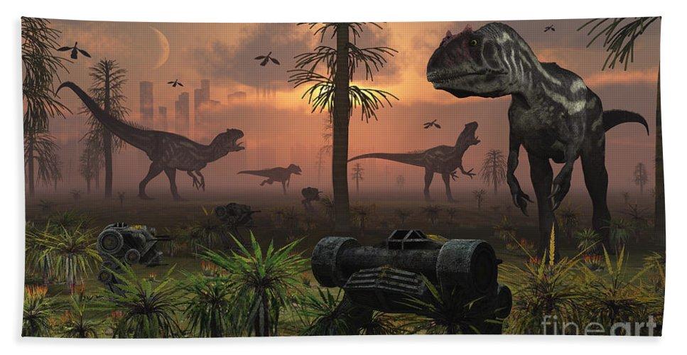Paleozoology Beach Towel featuring the digital art A Herd Of Allosaurus Dinosaur Cause by Mark Stevenson