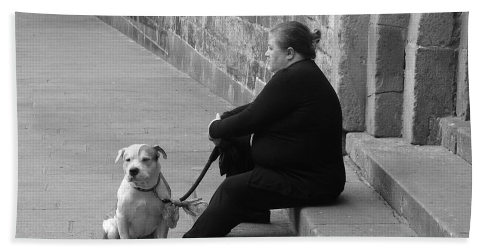 Barcelona Beach Towel featuring the photograph A Lady With Her Dog In Barcelona by Ana Maria Edulescu