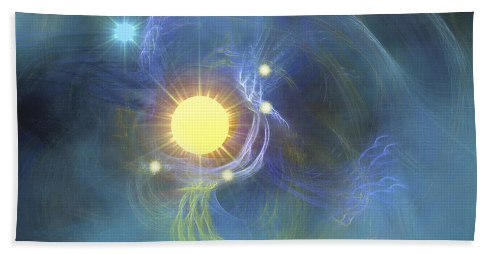 Science Fiction Beach Towel featuring the digital art A Large Sun Is Veiled By Surrounding by Corey Ford