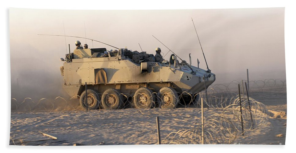 Land Forces Beach Towel featuring the photograph A Lav IIi Infantry Fighting Vehicle by Andrew Chittock