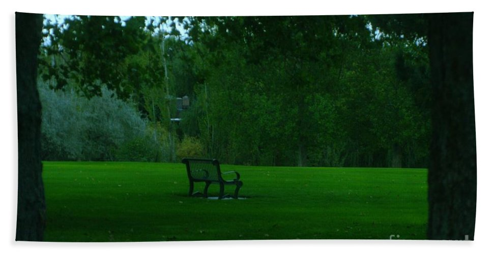 Autumn. Bench Beach Towel featuring the photograph A Lonely Autumn Bench by Jeff Swan