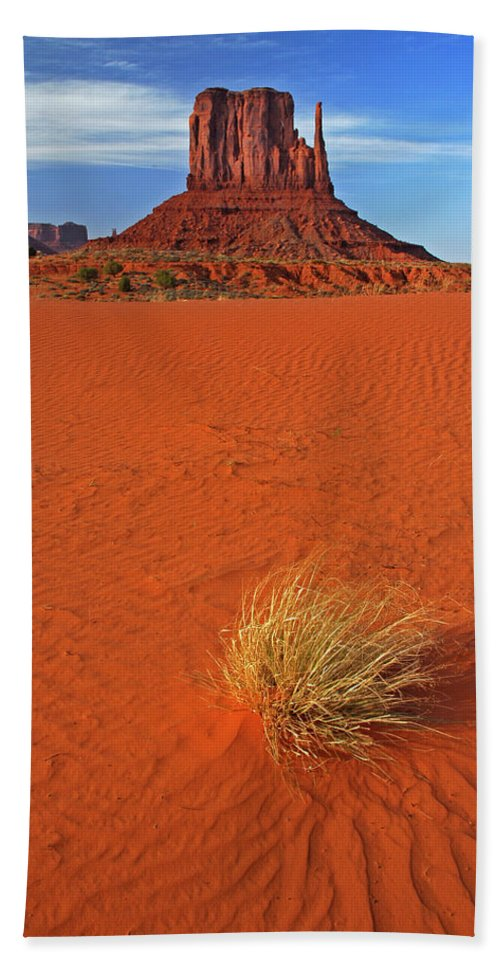 Monument Valley Beach Towel featuring the photograph A Monument Valley View by Dave Mills