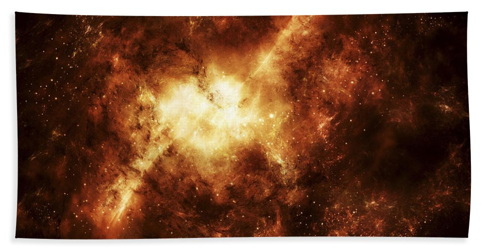 Digitally Generated Image Beach Towel featuring the digital art A Nebula Surrounded By Stars by Justin Kelly