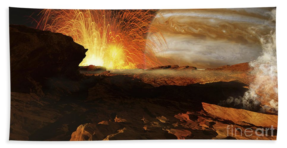 Color Image Beach Towel featuring the digital art A Scene On Jupiters Moon, Io, The Most by Ron Miller