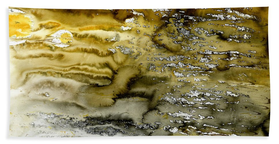 Abstract Beach Towel featuring the painting A Sea Of Raw Sienna by Hakon Soreide