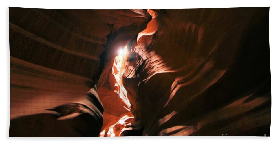 Antelope Canyon Beach Towel featuring the photograph A Splash Of Light by Adam Jewell