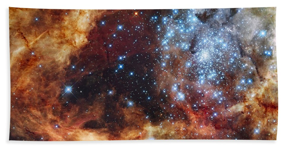 Red Beach Towel featuring the photograph A Stellar Nursery Known As R136 by Stocktrek Images