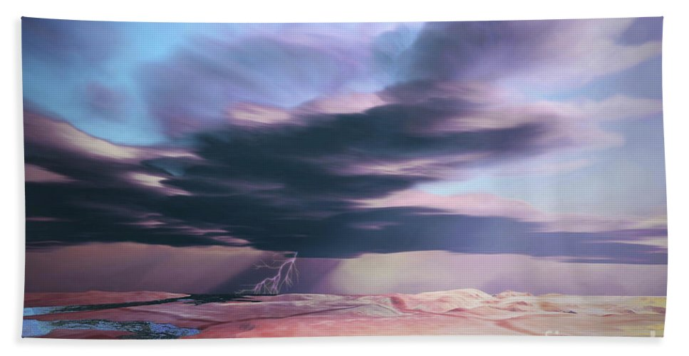 Desert Beach Towel featuring the digital art A Swift Moving Thunderstorm Moves by Corey Ford