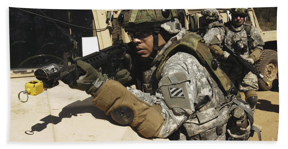 Adults Only Beach Towel featuring the photograph A U.s. Army Soldier Pulls Security by Stocktrek Images