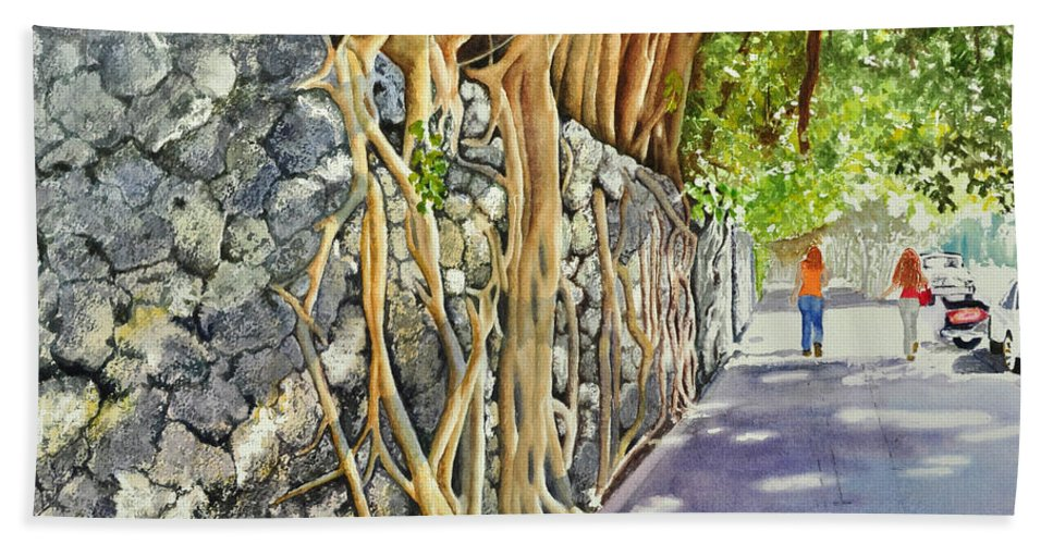 Coconut Grove Historical Architecture South Florida Beach Towel featuring the painting A Walk In The Grove by Terry Arroyo Mulrooney
