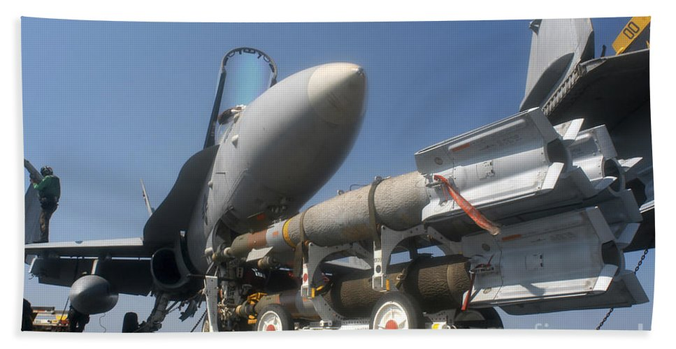 Horizontal Beach Towel featuring the photograph A Weapons Skid Carrying 500-pound by Stocktrek Images